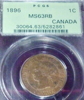 1896 Canada One Cent - Uncirculated - Pcgs Ms 63 Rb