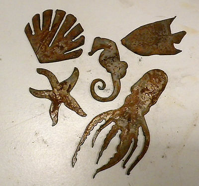 "Lot of 5 Ocean Sea Animal Shapes Octopus Fish 3-6"" Rusty Metal Vintage Crafts"