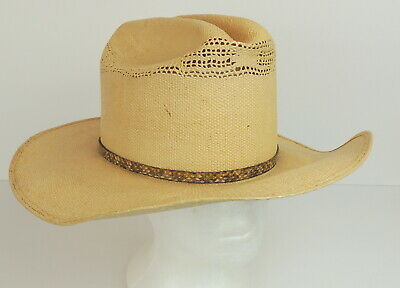 4863a47456f21 Vintage Wrangler Cowboy Straw Hat Made In Texas 6 7 8 Leather Band 7 Star