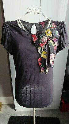 698afd169957 TED BAKER LADIES Silk Large Floral Bow Top Blouse - Size 4 UK 14-16 ...