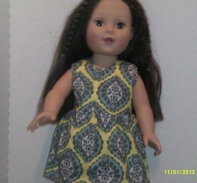 """18"""" doll clothes-fits American Girl Generation My Life-Dress-Yellow Print.."""