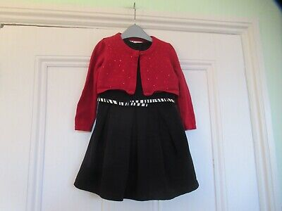 12-18m: Pretty outfit: NEXT black dress + striped belt/ Sequinned red cardigan