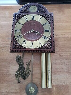 Wall Clock Post 1900 8 day weight driven  solid wood   working