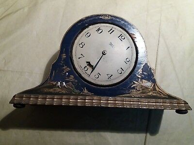 Smith Synchronous Electric Clock, 1930s, mantel clock, blue chinoiserie wood