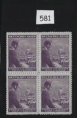Mint-MNH stamp block / Adolph Hitler / 60 + 1.40 / German Occupation 1943 / WWII
