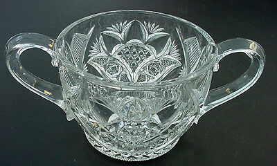 vTg EAPG Lead Crystal Press Cut Depression Glass lg Handled Sugar Bowl Spooner
