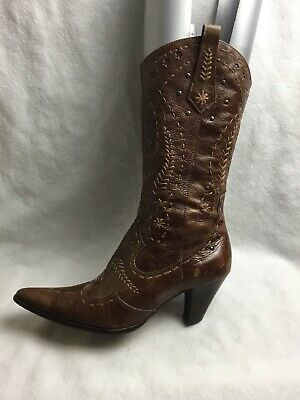 ffb883d53c1 RIVER ISLAND LADIES Mid Calf Boots Size UK 4 EU 37 Brown Leather ...