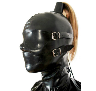 Natural Latex Mask Rubber Full Enclosure Hood Unisex for Party Bodysuits Wear