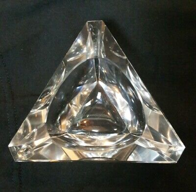 Vintage Clear Thick and Heavy Glass Triangle Ashtray 5 inches