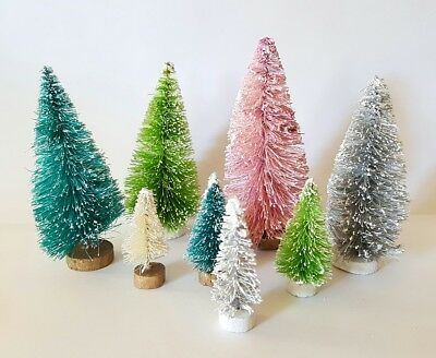 LOT 8 Mini MULTI ASSORTED COLOR MIX Miniature Sisal Bottle Brush Christmas Trees