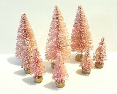 8 Mini PINK Miniature Sisal Bottle Brush Flocked Christmas Trees Snow Village