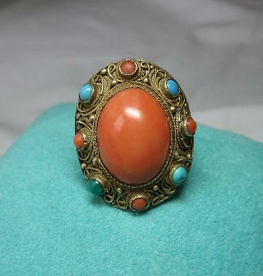 Coral Turquoise Ring Chinese Export Sterling Silver Art Deco Antique Filigree