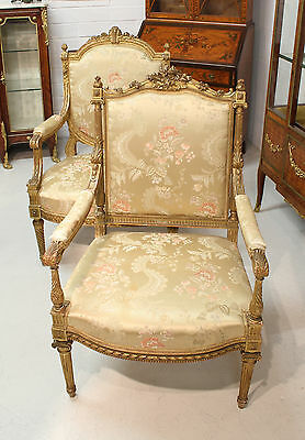 Two Beautiful 19Th Century Carved Gilt Chairs