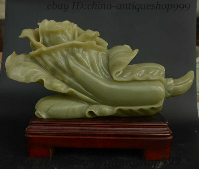 Old China Exquisite Xiuyu Jade HandCarved Chinese Cabbage Wealth Ornament Statue
