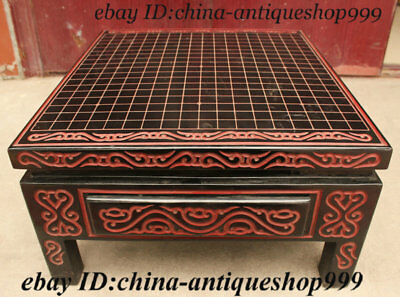 Old Chinese Wood Lacquerware Chessboard Checkerboard Square Desk Or Table Statue