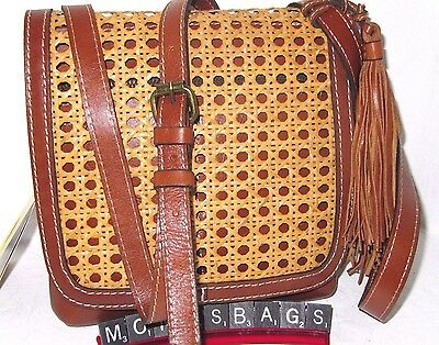 Patricia Nash Granada Italian Leather Vintage Wicker Crossbody Bag NWT $149
