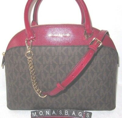 a3432a9af359 Michael Kors Large Dome Emmy Satchel Brown Signature Cherry Red Leather NWT  $378