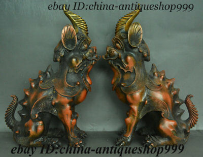 Antique Old Chinese Bronze Fengshui Pixiu Brave troops Unicorn Beast Statue Pair