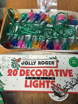 Boxed Vintage Christmas Lights By JOLLY ROGER With Two Spare Bulbs