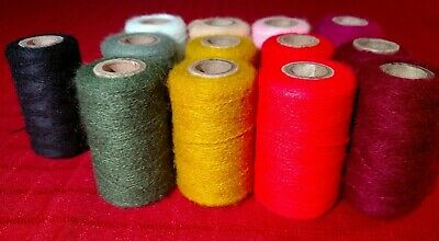 Vintage Acrylic Yarn Thread for Needle Punch Embroidery - 13 Gently Used Spools