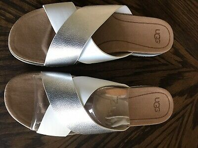 7f0c26370f6 UGG SLIDE SANDALS KARI silver white leather criss cross Sandals Size 12