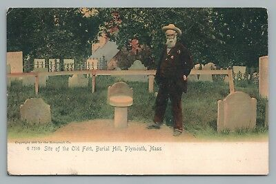 Old Fort Burial Hill PLYMOUTH MA Rare Antique UDB Hand-Colored 1910