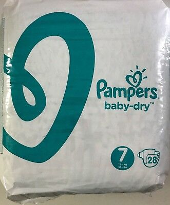 Couches Pampers Baby Dry Taille 7 (15+ Kg)  - Neuves Pack de 28 couches