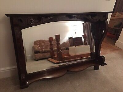 V Large Antique Late Victorian / Edwardian Bevelled Mahogany Over Mantle Mirror