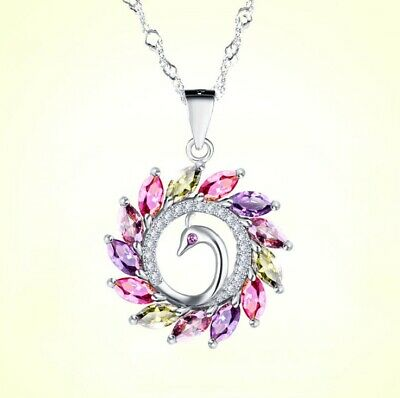 Colorful Peacock Pendant 925 Sterling Silver Chain Necklace Womens Jewellery New