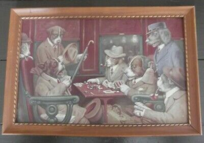 Dogs Playing Poker Vintage Wooden Framed Print by Cassius Coolidge