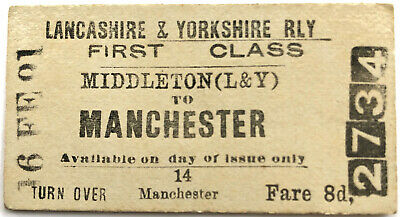 1891 Lancashire & Yorkshire Railway Ticket Middleton to Manchester Station