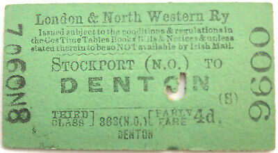 1890 London & North Western Railway Parly Ticket Stockport to Denton Junction