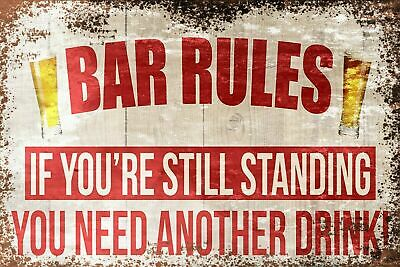 Bar Rules Humorous Funny Vintage Retro Style Metal Sign, bar pub man cave