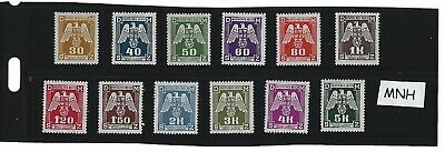 Complete MNH 1943 Nazi Swastika stamp set / 12 MNH Third Reich stamps / BaM WWII