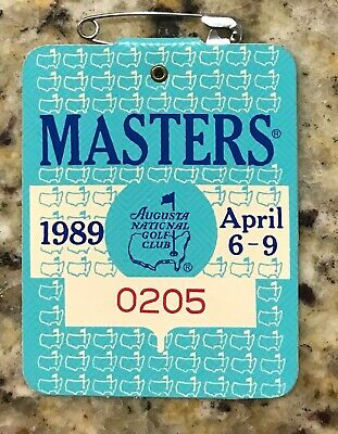 1989 Masters Augusta National Golf Club Badge Ticket Nick Faldo Wins Pga