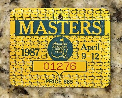 1987 MASTERS AUGUSTA NATIONAL GOLF CLUB BADGE TICKET LARRY MIZE WINS PGA No Pin