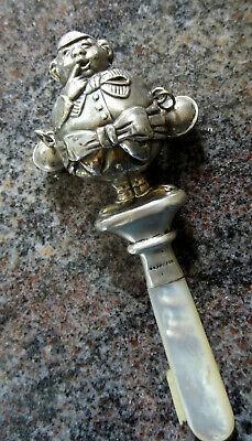 Antique English Sterling Silver double sided Simple Simon baby rattle MOP handle