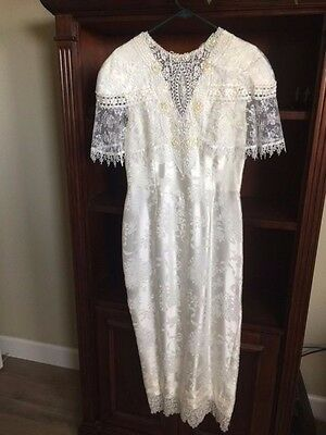 Jessica McClintock VINTAGE lace Victorian peplum Long wedding bridal  dress 10