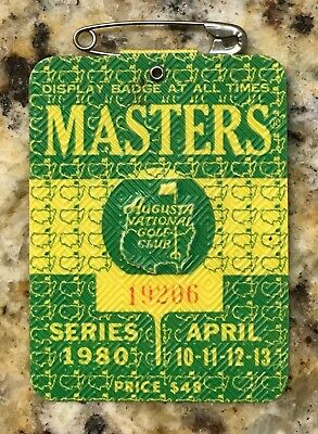 1980 Masters Augusta National Golf Club Badge Ticket Seve Ballesteros Wins