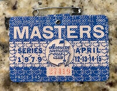 1979 MASTERS AUGUSTA NATIONAL GOLF CLUB BADGE TICKET FUZZY ZOELLER WINS Cracked