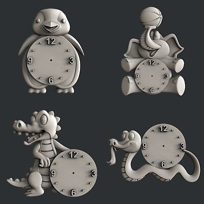 3d STL models for CNC, Artcam, Aspire, relief set clock