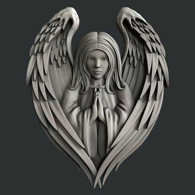 3D STL Model for CNC Router Carving Artcam Aspire Cherub Angel Baby Wings D142