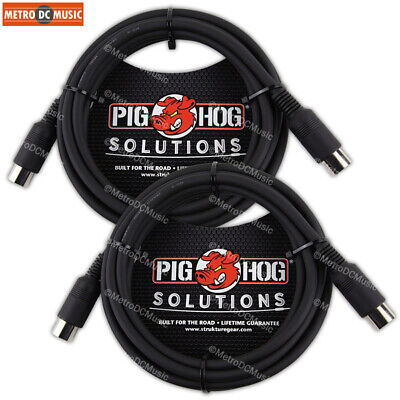 2-Pack Pig Hog 10 ft MIDI Cable Black Instrument Interface PMID10 male to male