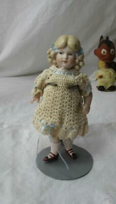 "Antique German Doll 6"" All Bisque P 14 Painted Face Hair Ribbon Shoes Socks"