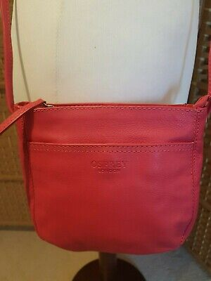 41e7fa846993 Osprey London Leather Cross Body Shoulder Bag Pink Excellent (B55)