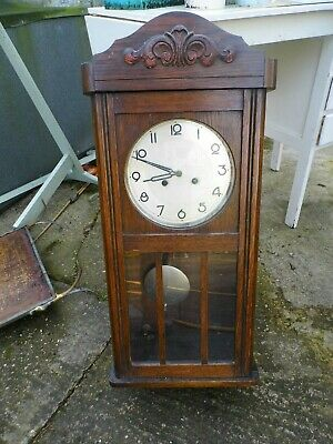 Antique Wooden Wall Clock - Pendulum - Key