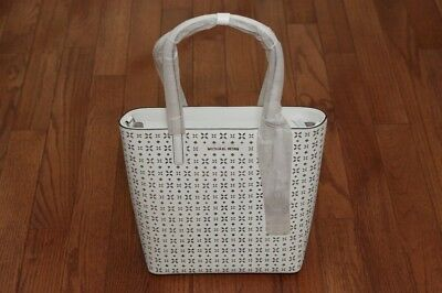 34a83512ac42 NWT Michael Kors  298 Hayley Large Floral North South Top Zip Tote Handbag  White
