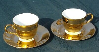 "Gold Cup & Saucers (2) Christineholm Gilt Demi-Cups 5 3/8""d Saucers 2 3/8""t Cups"