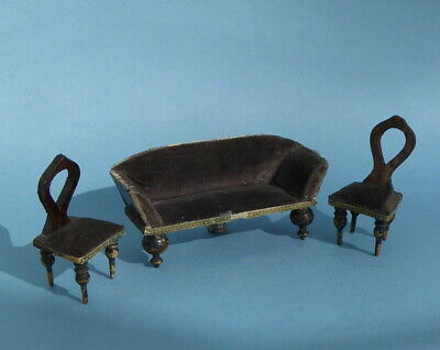 Vintage dolls house sofa and 2 matching chairs.