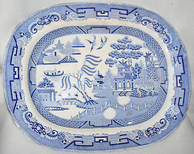 English Blue Willow Tranfer 1780-1820 Creamware 18 inch Staffordshire Platter